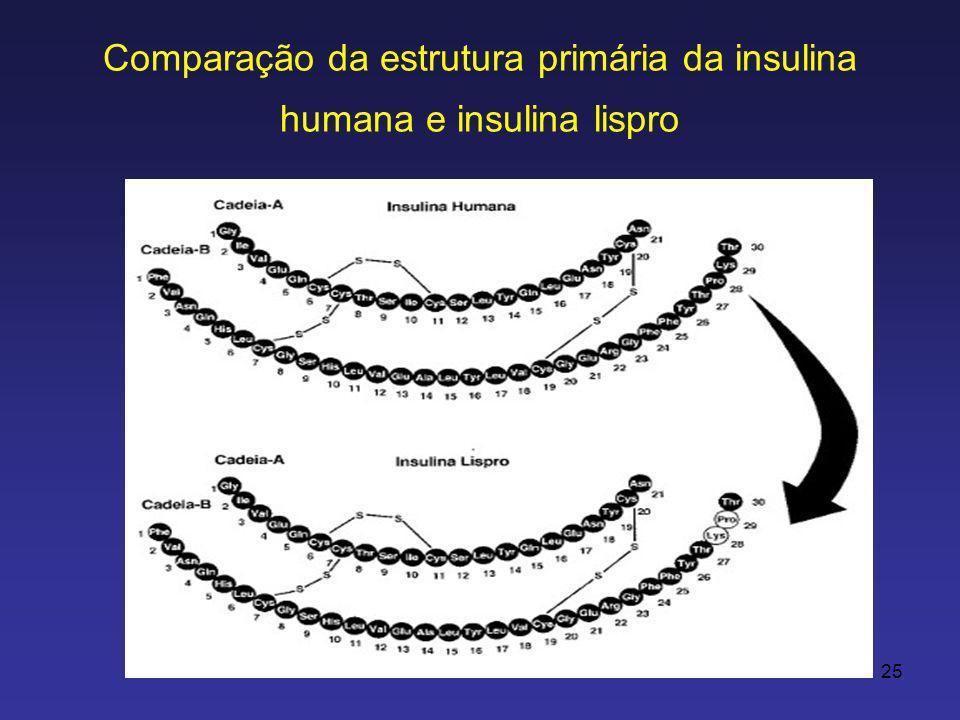 Comparação da estrutura primária da insulina humana e insulina lispro