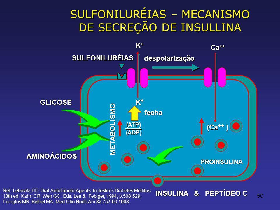SULFONILURÉIAS – MECANISMO DE SECREÇÃO DE INSULLINA