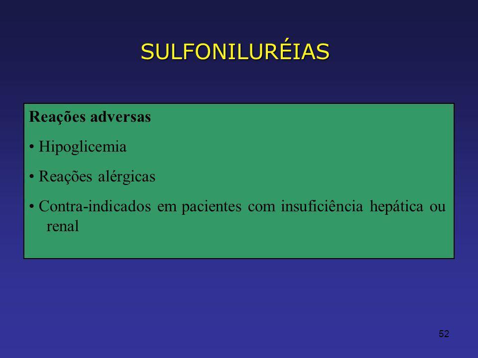 SULFONILURÉIAS Reações adversas • Hipoglicemia • Reações alérgicas