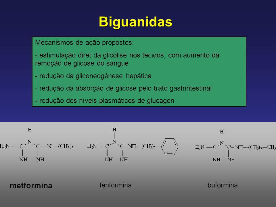 Biguanidas metformina Mecanismos de ação propostos:
