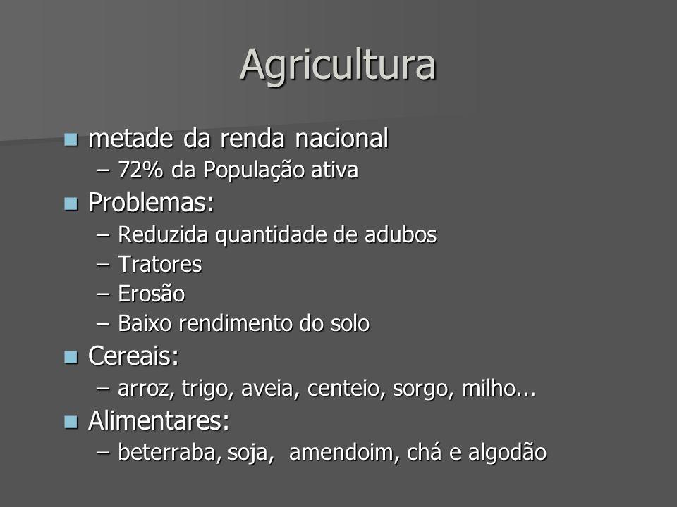 Agricultura metade da renda nacional Problemas: Cereais: Alimentares: