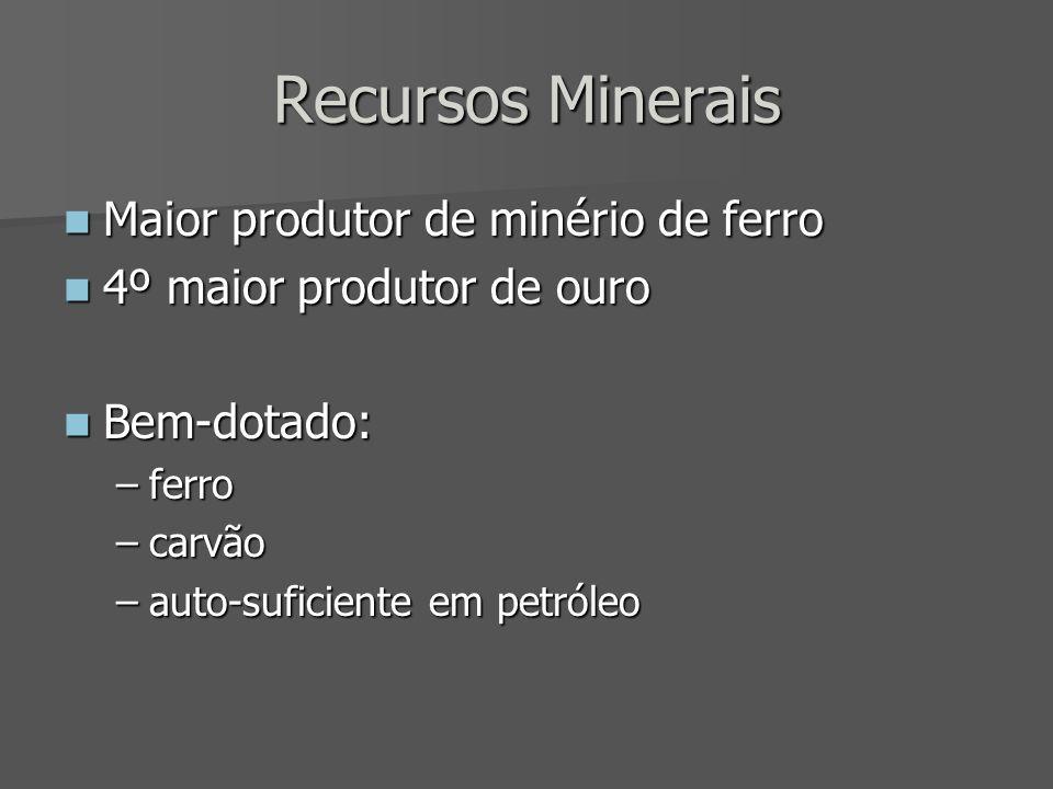 Recursos Minerais Maior produtor de minério de ferro