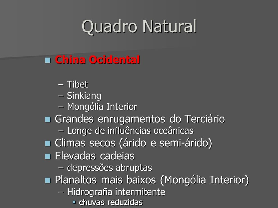 Quadro Natural China Ocidental Grandes enrugamentos do Terciário