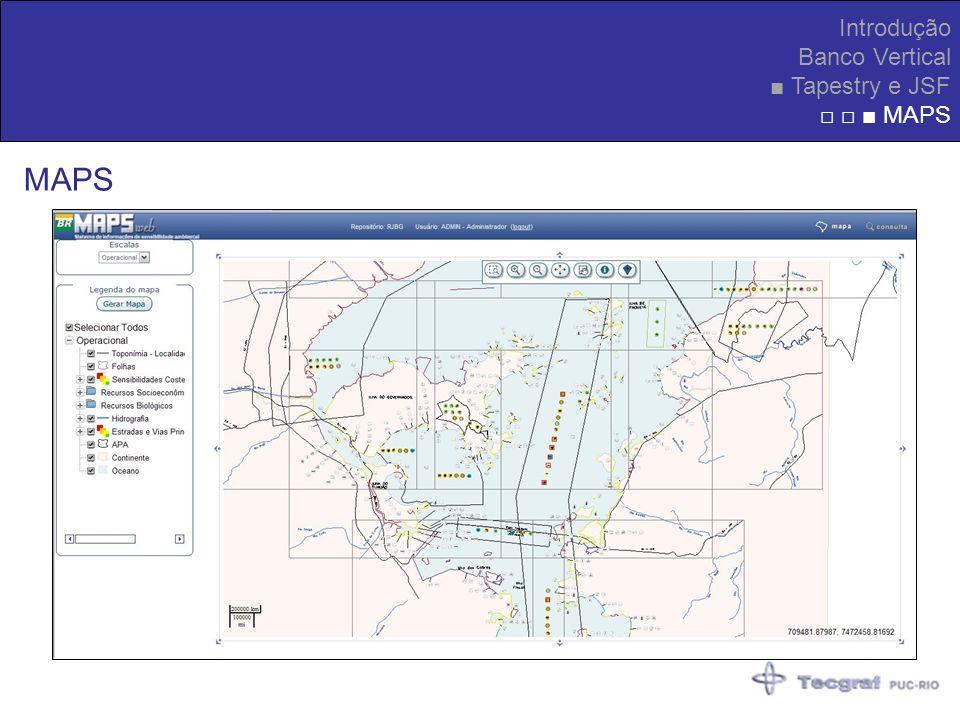 Introdução Banco Vertical ■ Tapestry e JSF □ □ ■ MAPS MAPS