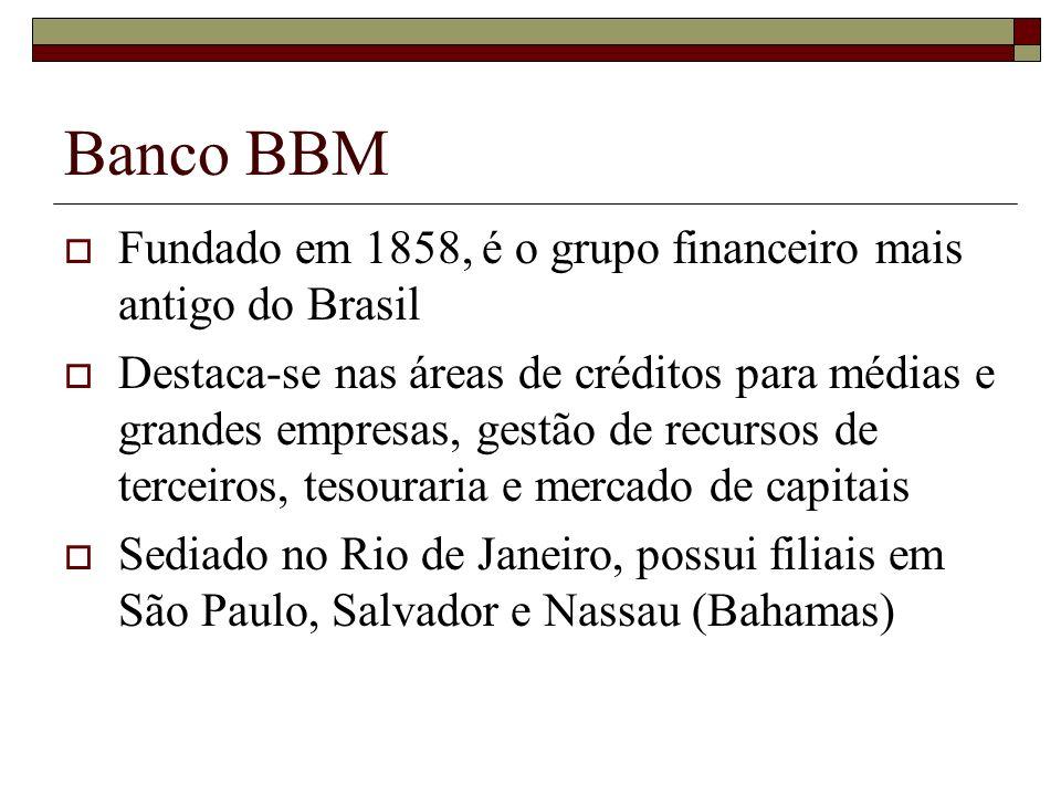 Banco BBM Fundado em 1858, é o grupo financeiro mais antigo do Brasil