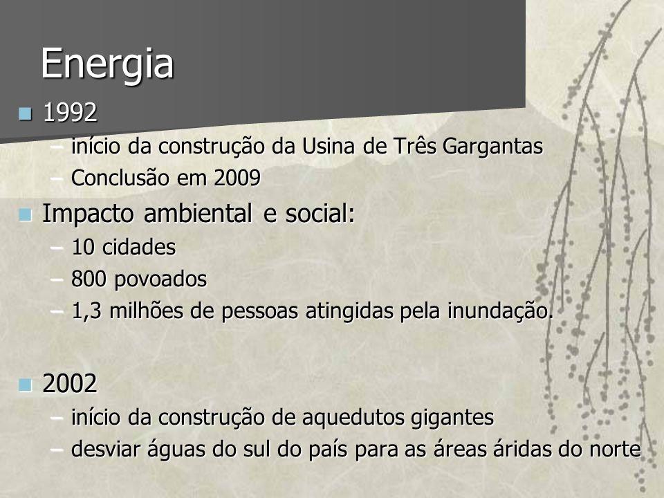 Energia 1992 Impacto ambiental e social: 2002