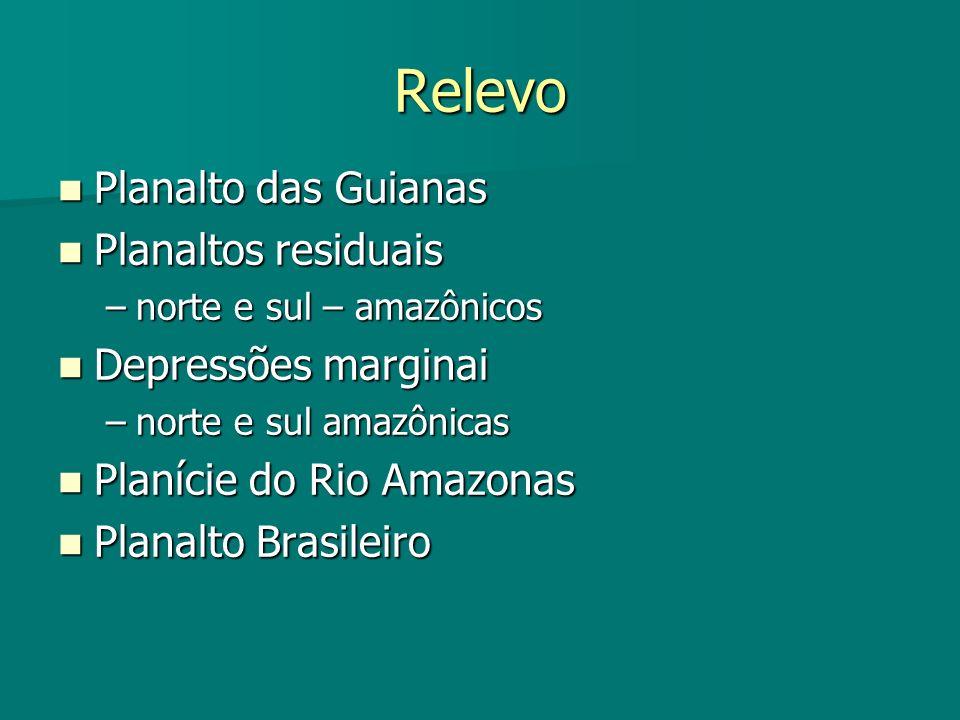 Relevo Planalto das Guianas Planaltos residuais Depressões marginai