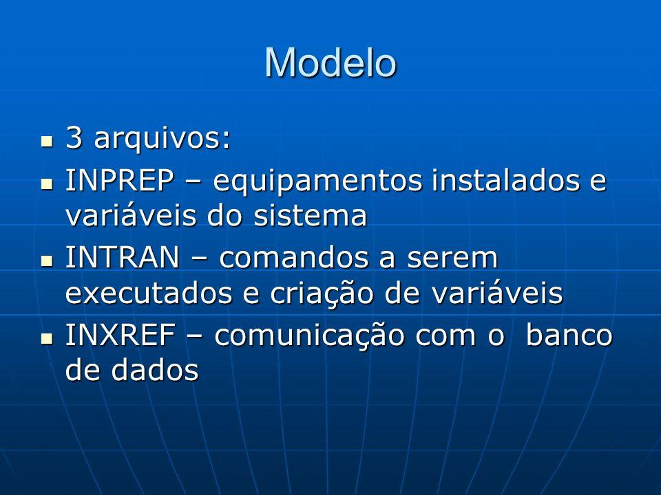 Modelo 3 arquivos: INPREP – equipamentos instalados e variáveis do sistema. INTRAN – comandos a serem executados e criação de variáveis.