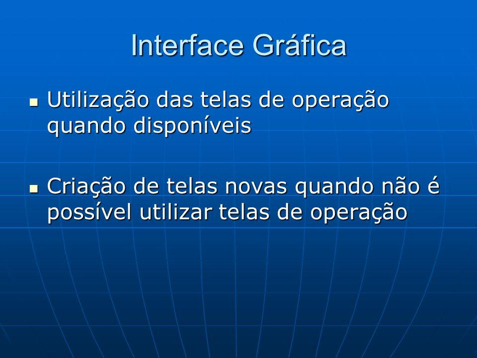 Interface Gráfica Utilização das telas de operação quando disponíveis
