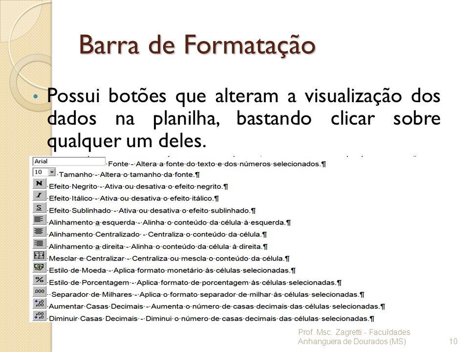 Barra de Formatação Possui botões que alteram a visualização dos dados na planilha, bastando clicar sobre qualquer um deles.