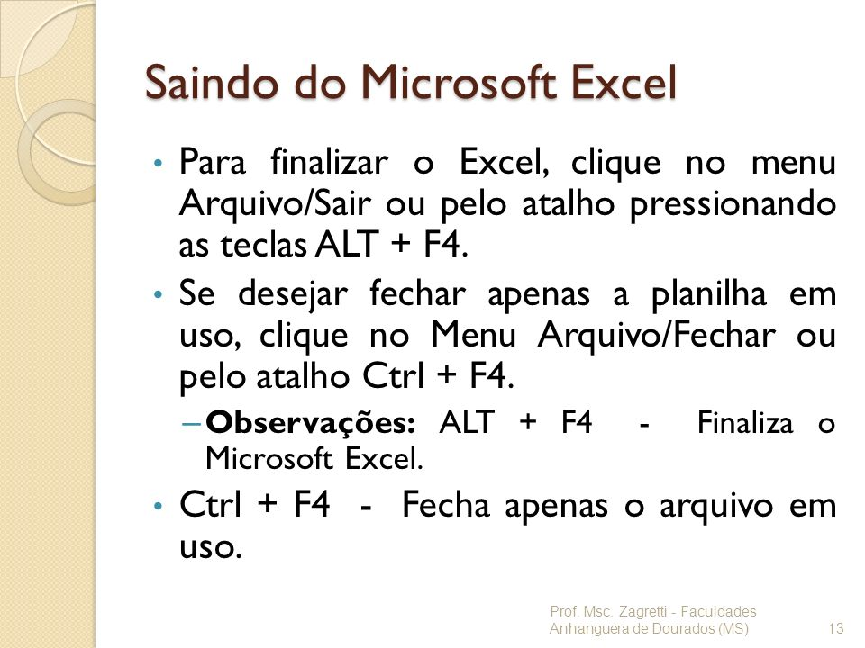 Saindo do Microsoft Excel