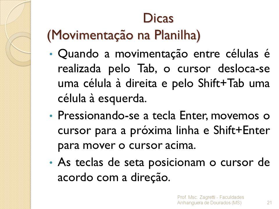 Dicas (Movimentação na Planilha)
