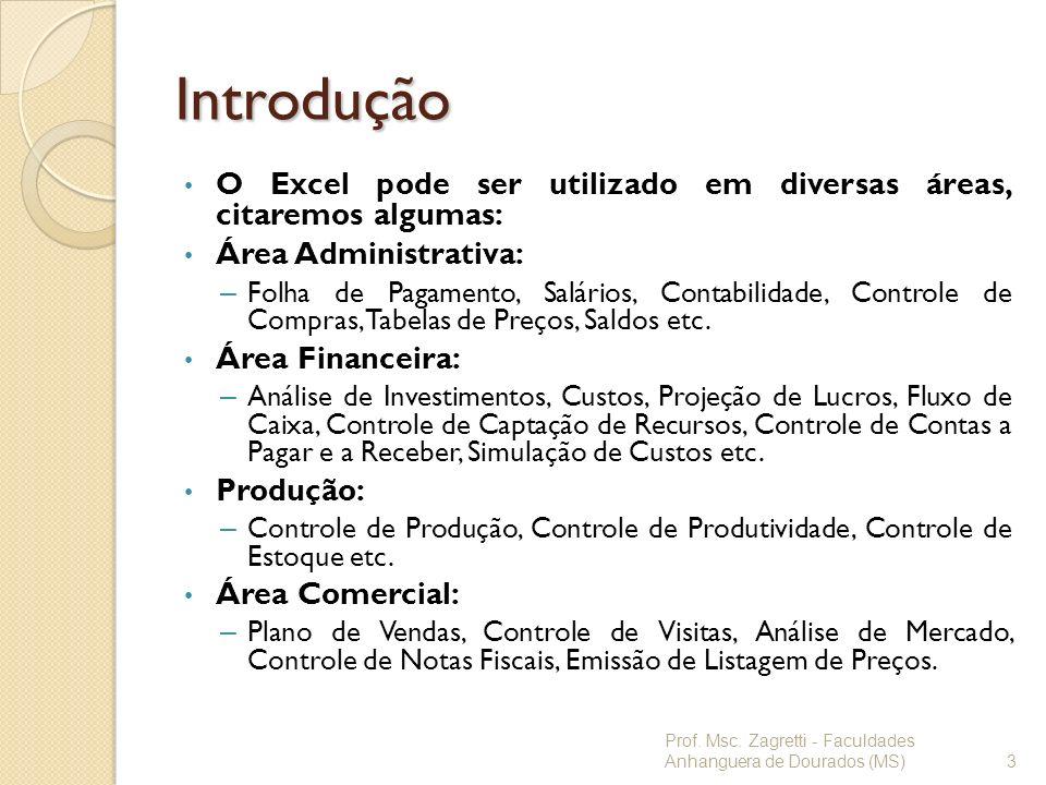 Introdução O Excel pode ser utilizado em diversas áreas, citaremos algumas: Área Administrativa: