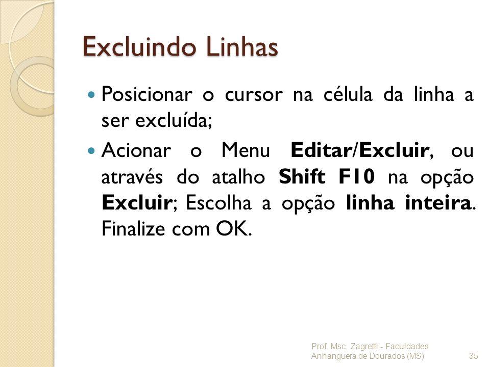 Excluindo Linhas Posicionar o cursor na célula da linha a ser excluída;