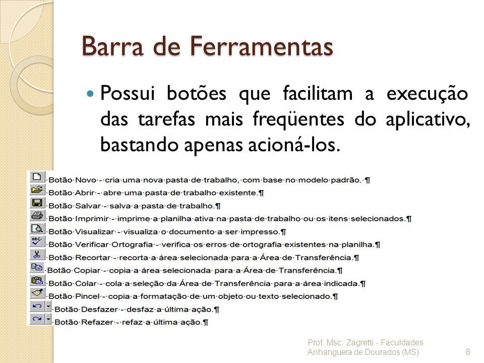 Barra de Ferramentas Possui botões que facilitam a execução das tarefas mais freqüentes do aplicativo, bastando apenas acioná-los.
