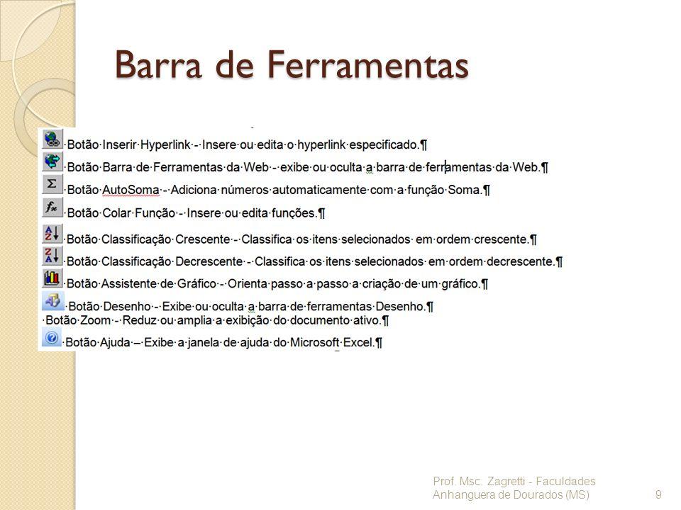 Barra de Ferramentas Prof. Msc. Zagretti - Faculdades Anhanguera de Dourados (MS)