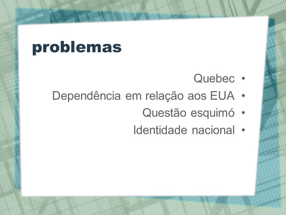 problemas Quebec Dependência em relação aos EUA Questão esquimó