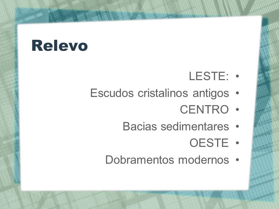 Relevo LESTE: Escudos cristalinos antigos CENTRO Bacias sedimentares
