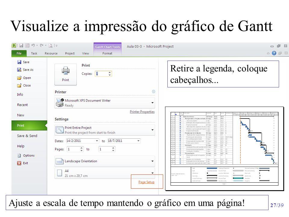Visualize a impressão do gráfico de Gantt