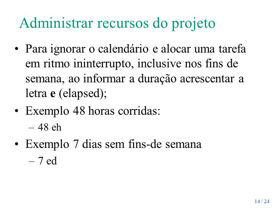 Administrar recursos do projeto