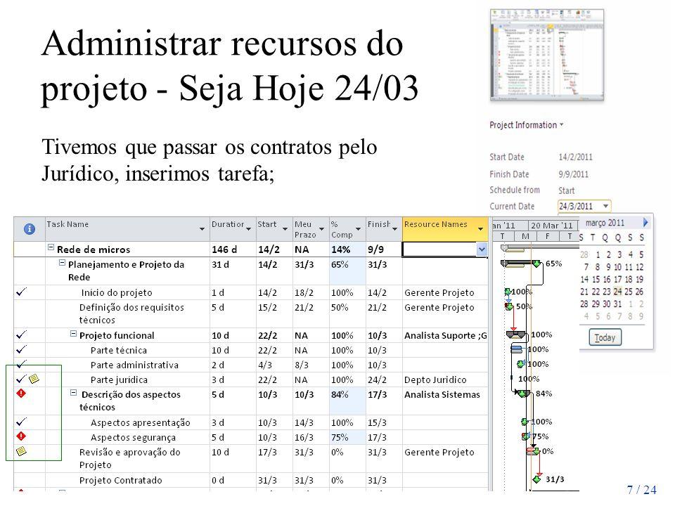 Administrar recursos do projeto - Seja Hoje 24/03