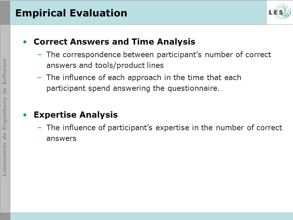 Empirical Evaluation Correct Answers and Time Analysis