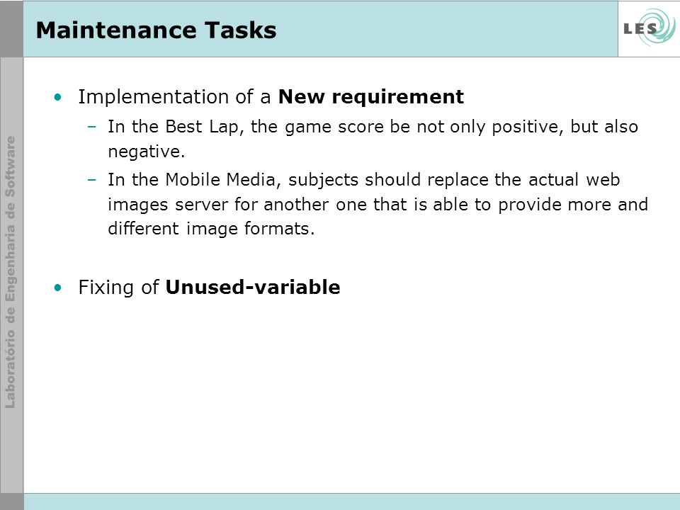 Maintenance Tasks Implementation of a New requirement