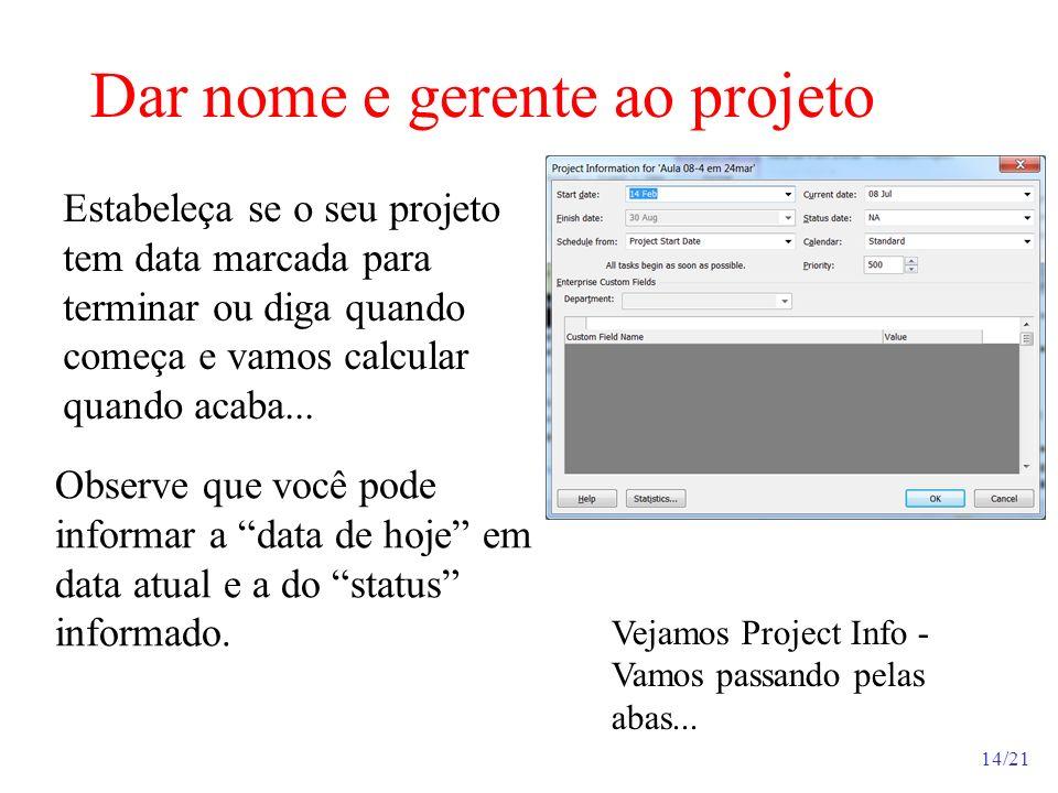 Dar nome e gerente ao projeto