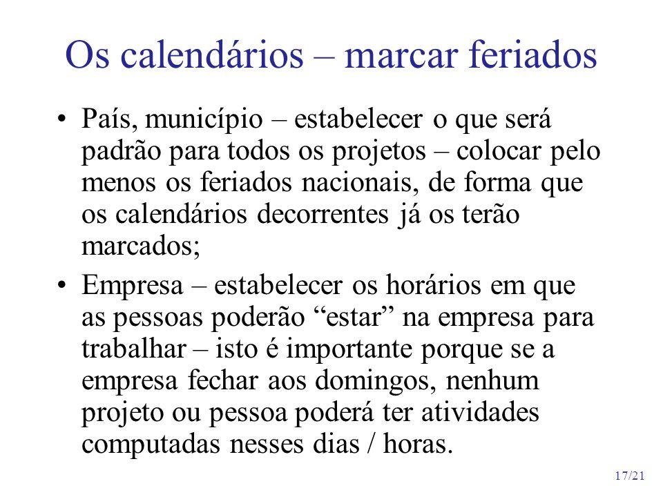 Os calendários – marcar feriados