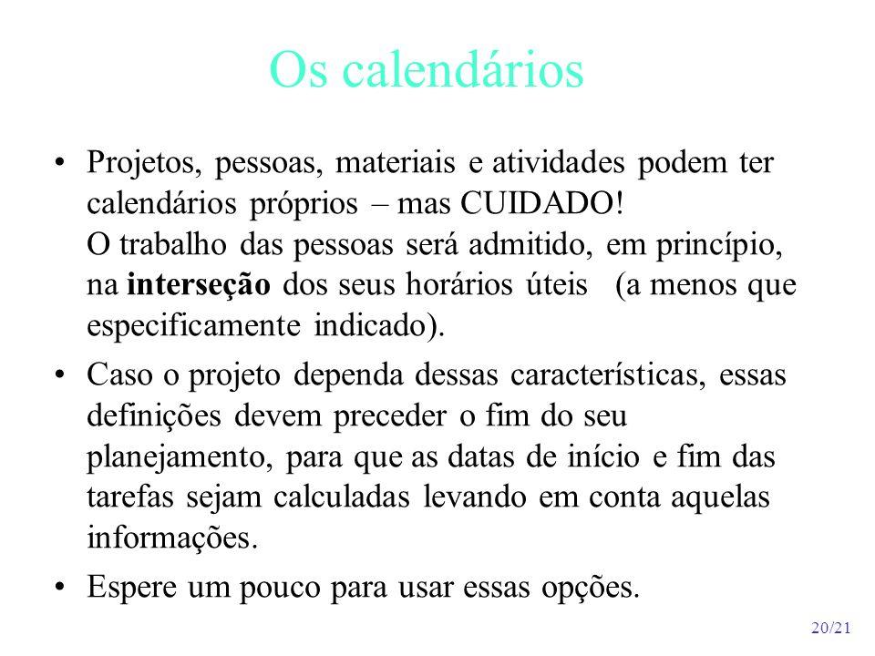 Os calendários