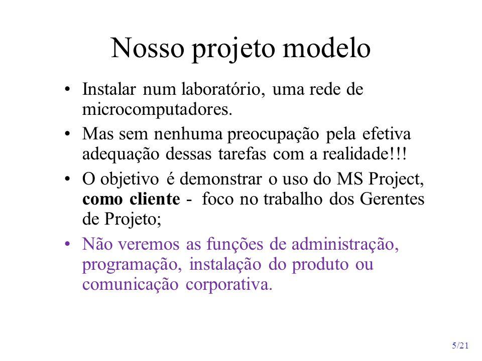 Nosso projeto modeloInstalar num laboratório, uma rede de microcomputadores.