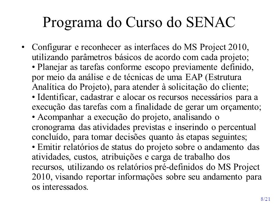Programa do Curso do SENAC