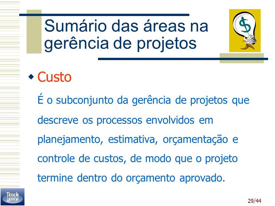 Sumário das áreas na gerência de projetos