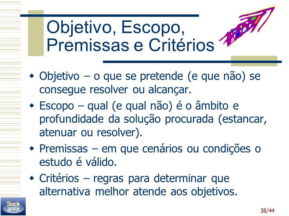 Objetivo, Escopo, Premissas e Critérios