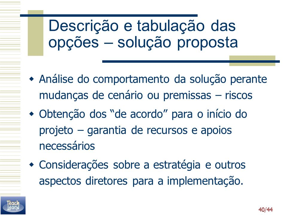 Descrição e tabulação das opções – solução proposta