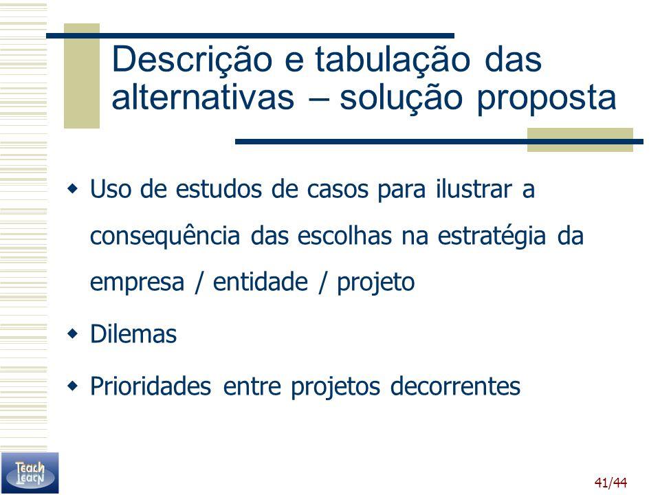 Descrição e tabulação das alternativas – solução proposta