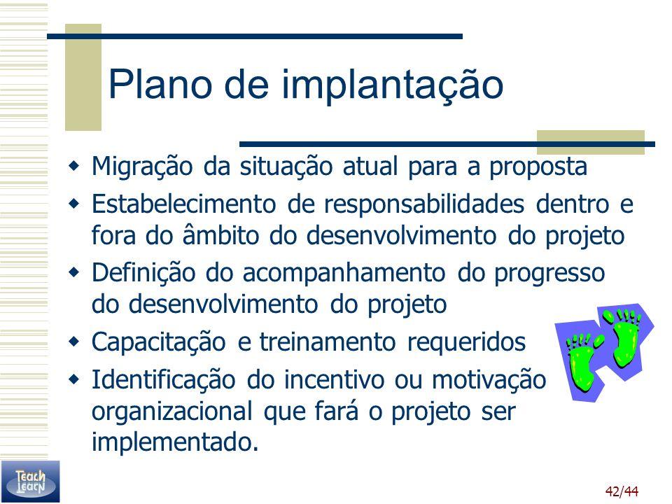 Plano de implantação Migração da situação atual para a proposta