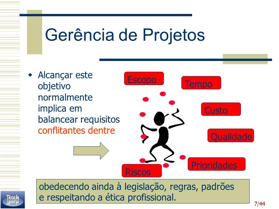 Gerência de Projetos Alcançar este objetivo normalmente implica em balancear requisitos conflitantes dentre.