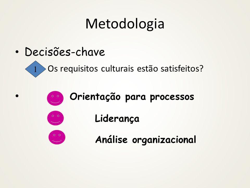 Metodologia Decisões-chave Os requisitos culturais estão satisfeitos