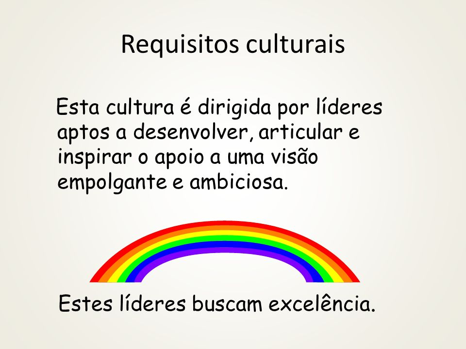 Requisitos culturais Estes líderes buscam excelência.