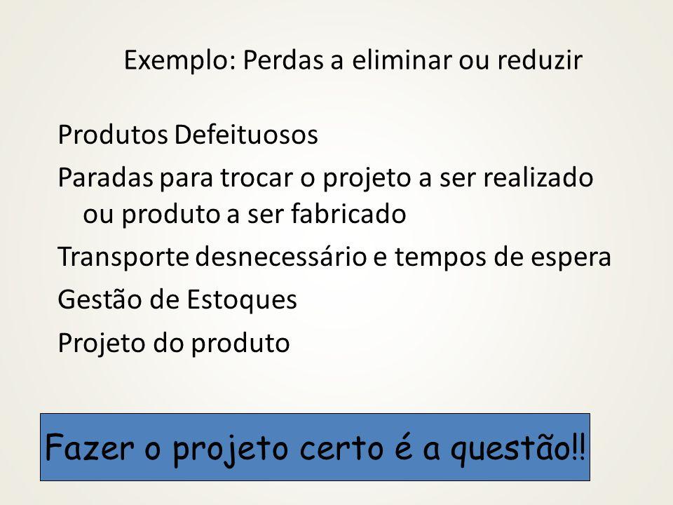 Exemplo: Perdas a eliminar ou reduzir