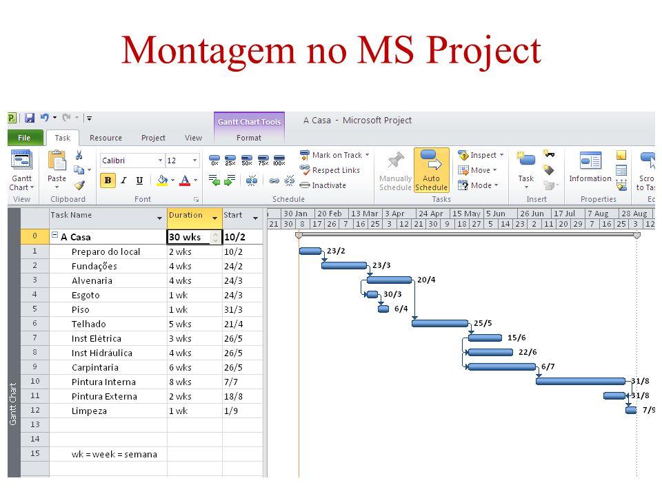 Montagem no MS Project