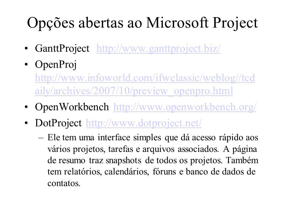 Opções abertas ao Microsoft Project