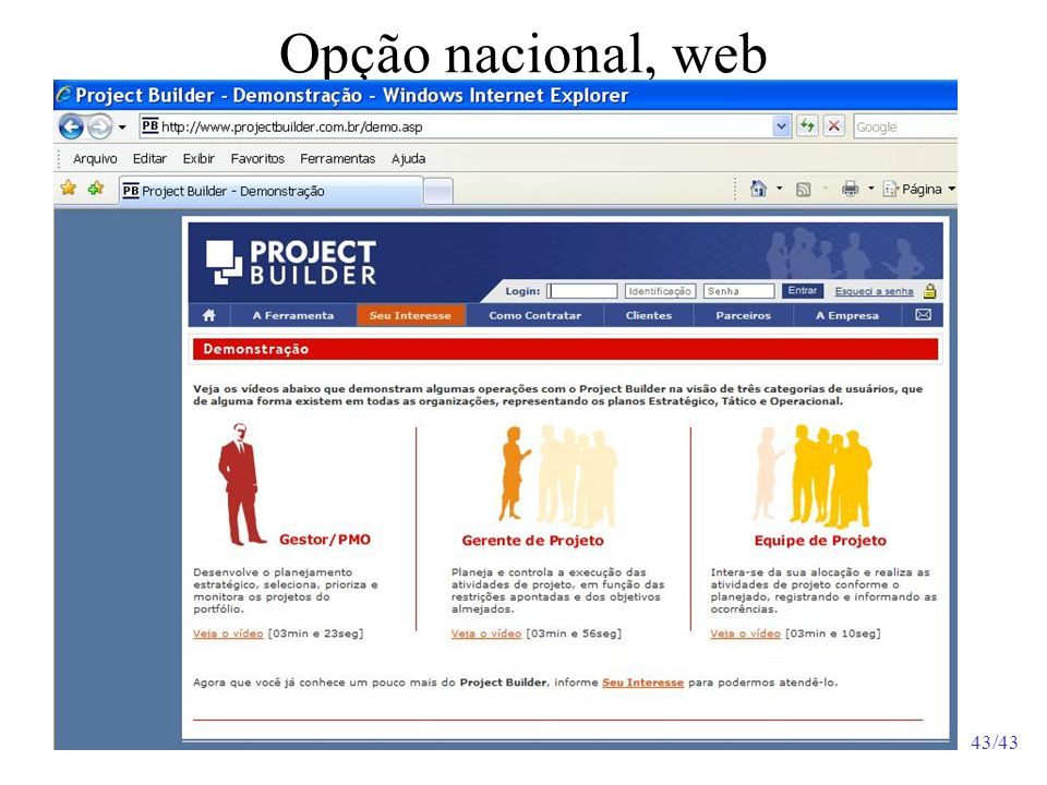 Opção nacional, web