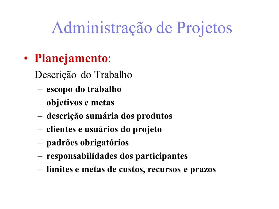 Administração de Projetos