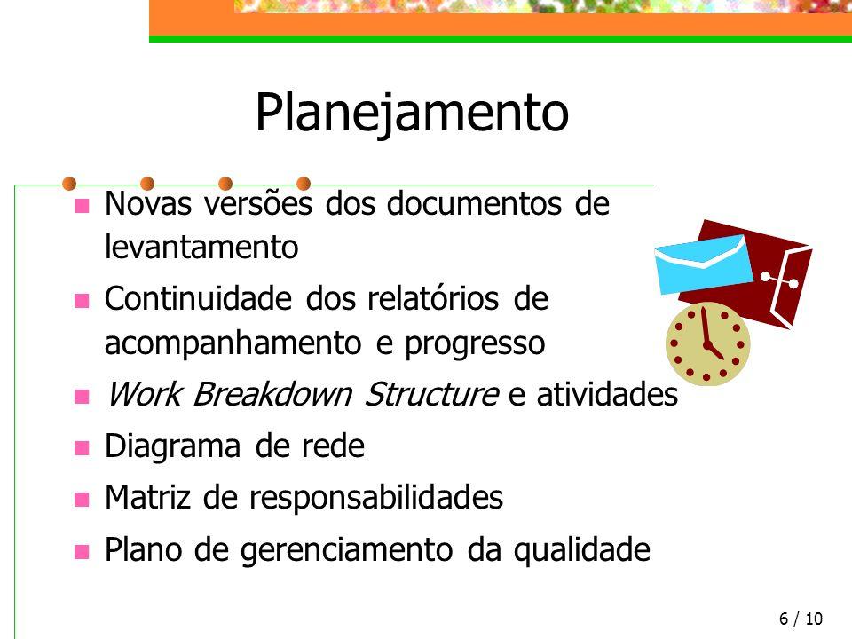Planejamento Novas versões dos documentos de levantamento