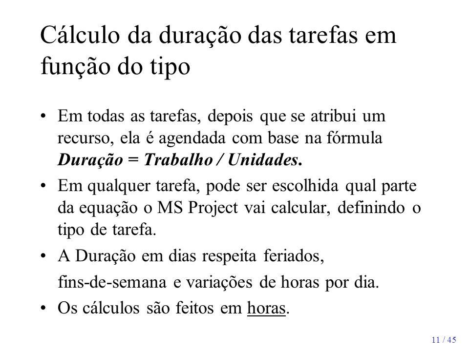 Cálculo da duração das tarefas em função do tipo