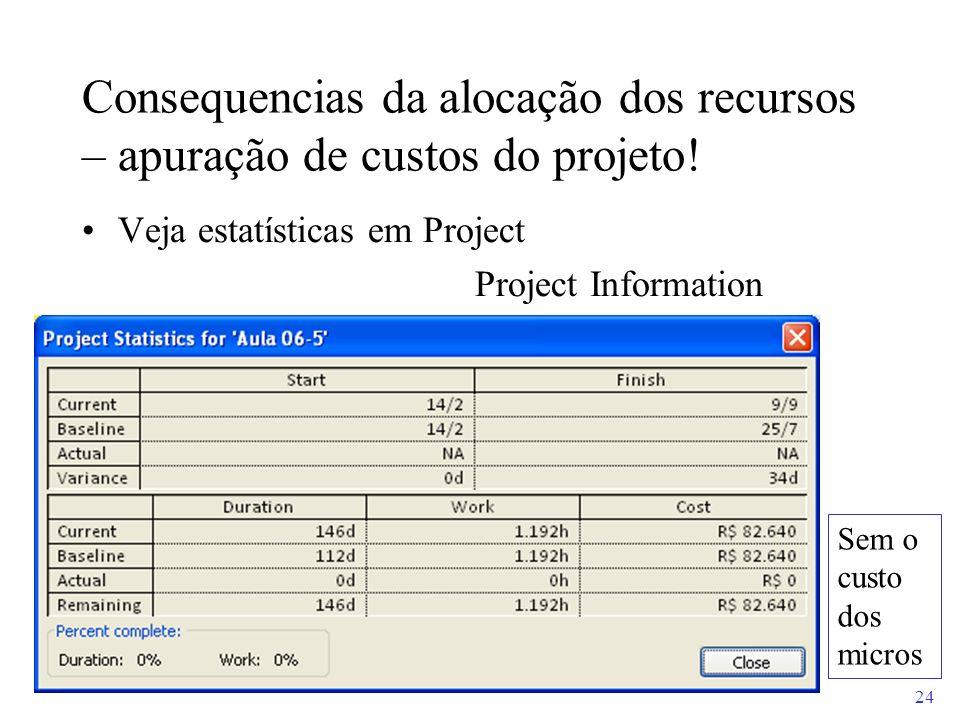 Consequencias da alocação dos recursos – apuração de custos do projeto!