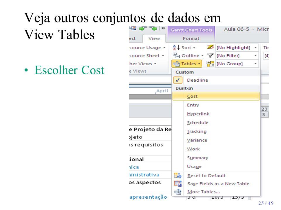 Veja outros conjuntos de dados em View Tables