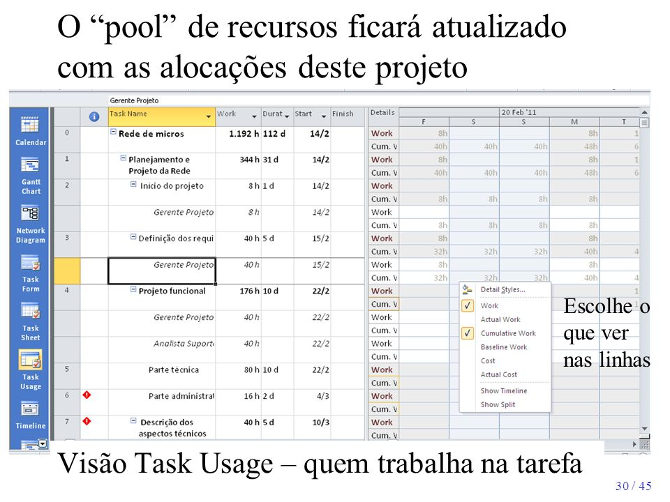O pool de recursos ficará atualizado com as alocações deste projeto